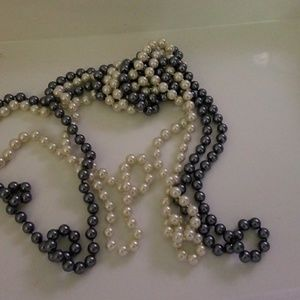 """Set of 2 30"""" faux pearl necklaces creme and gray"""